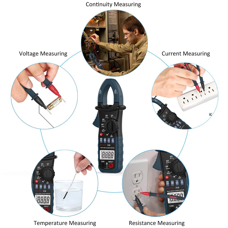 Digitales Clamp-Multimeter Kapazit/ätswiderstand Temperaturmessung BOLYFA 6000 Z/ählt Digitales Clamp-Meter NCV AC//DC-Spannung mit Hintergrundbeleuchtung Spannung LCD-Diaplay Frequenz