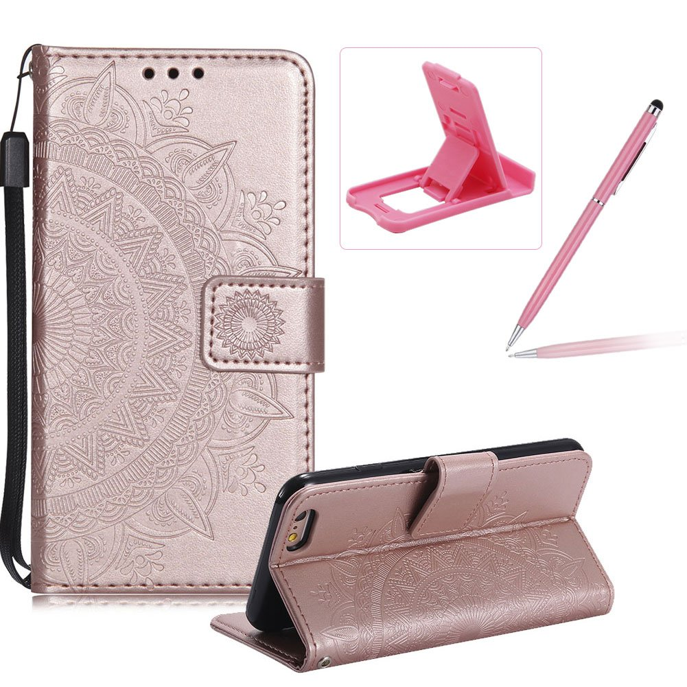 Strap Leather Case for iPhone SE, Rose Gold Wallet Cover for iPhone 5S, Herzzer Classic Retro Pretty Mandala Flower Embossed Magnetic Closure Stand Shockproof Flip PU Leather Back Case with Soft Silicone