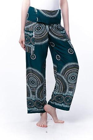 adac99e924 Kraft4Life Thai Fisherman Pants Boho Harem Pants Flower Print Waist Yoga  Smocked Baggy Bohemian Design Fit