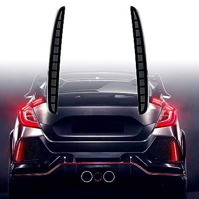 KE-KE Full LED Red Lens Bumper Reflector Lights for 2020 2020 2020 Honda Civic Hatchback Type-R 16-18 or SI 4-Door Sedan Tail Brake Rear Fog Lamps (Smoked): Automotive