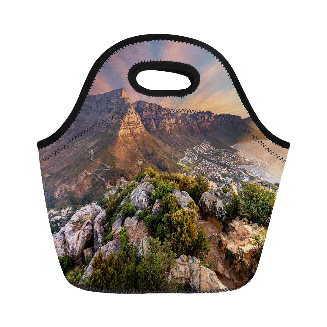 Semtomn Lunch Tote Bag Blue Africa Table Mountain Sunset South Capetown Cape Town Reusable Neoprene Insulated Thermal Outdoor Picnic Lunchbox for Men Women
