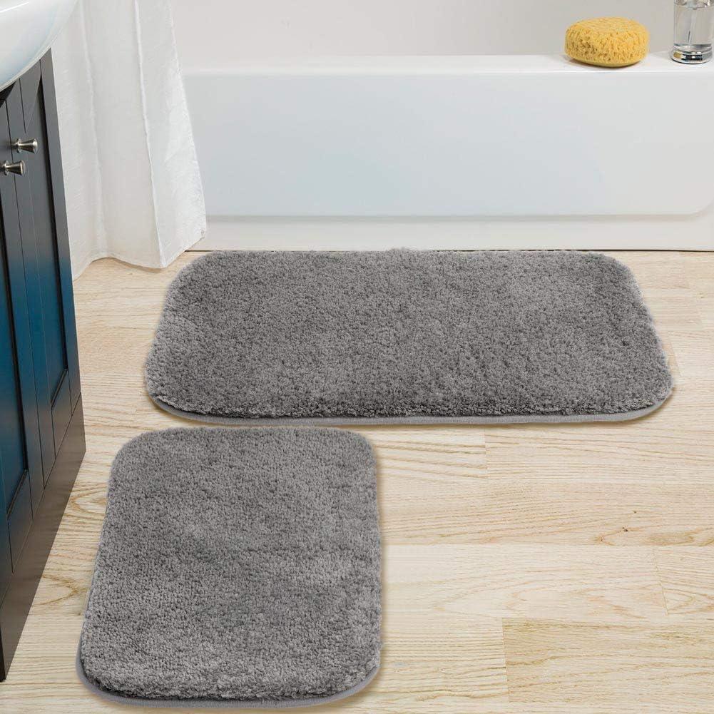 "OurWarm 2Pcs Bathroom Rugs Bath Mats for Bathroom Non Slip Super Soft Bath Rug Set, Extra Thick Water Absorbent Shaggy Microfiber Shower Rug for Bathroom, Machine Washable(Gray, 20"" x 32""+ 16"" x 24'')"