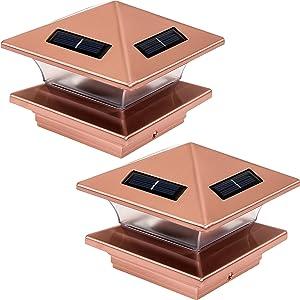GreenLighting (2 Pack) High End Solar LED Post Cap Light for 4 x 4 Wood/PVC/Vinyl Posts (Copper)