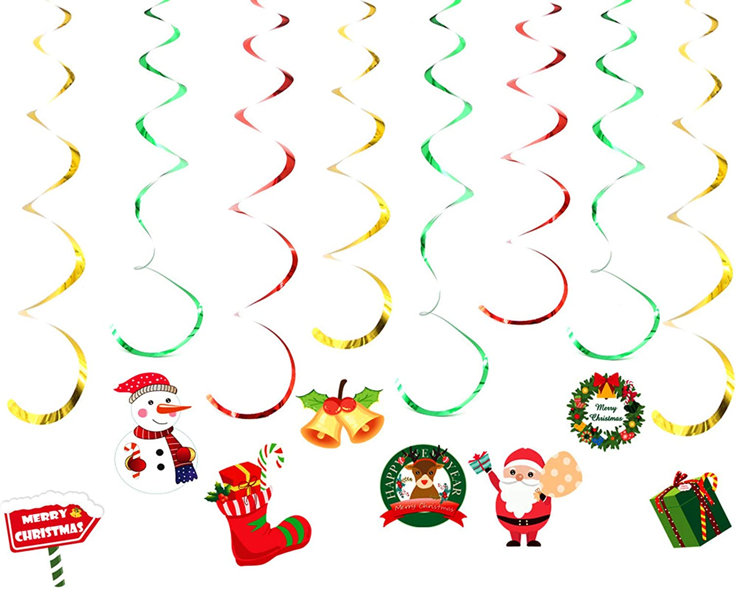 Birthday Party Accessory /& Decoration Happy Christmas Banner Latex Balloons and Hanging Swirls for Christmas Bar Home Decor,Baby Shower Rainmae Christmas Party Decoration Supplies Set