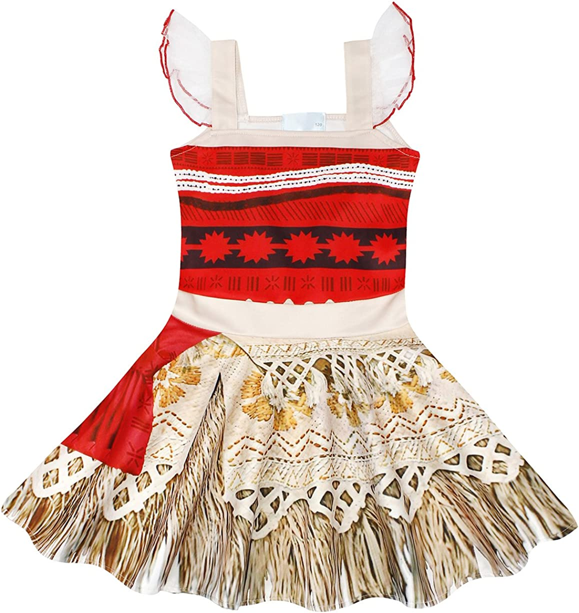 Jurebecia Girls Moana Childs Classic Costume Fancy Dress up Sleeveless Outfit Kids Halloween Birthday Holiday Cosplay Clothing Set Age 1-8 Years