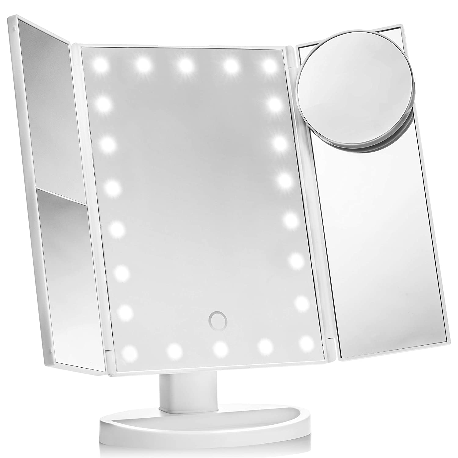 Vanity Makeup Mirror by Gradient Beauty Vanity Mirror with 22 Led Lights Portable Magnifying Trifold Mirror for Women Lit Makeup Room Accessory Touch Sensitive Switch
