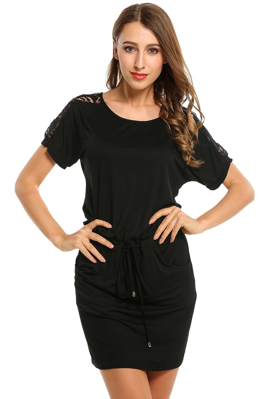 007692bc498 HOTOUCH Women Casual Short Sleeve T-Shirt Drawstring Mini Dress (Black XL):  Amazon.co.uk: Clothing