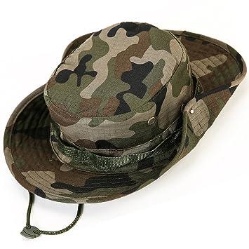 Unisex Militar Sombrero - Tela de algodón y poliéster suave superior, Sturdy Stitching Ala ancha