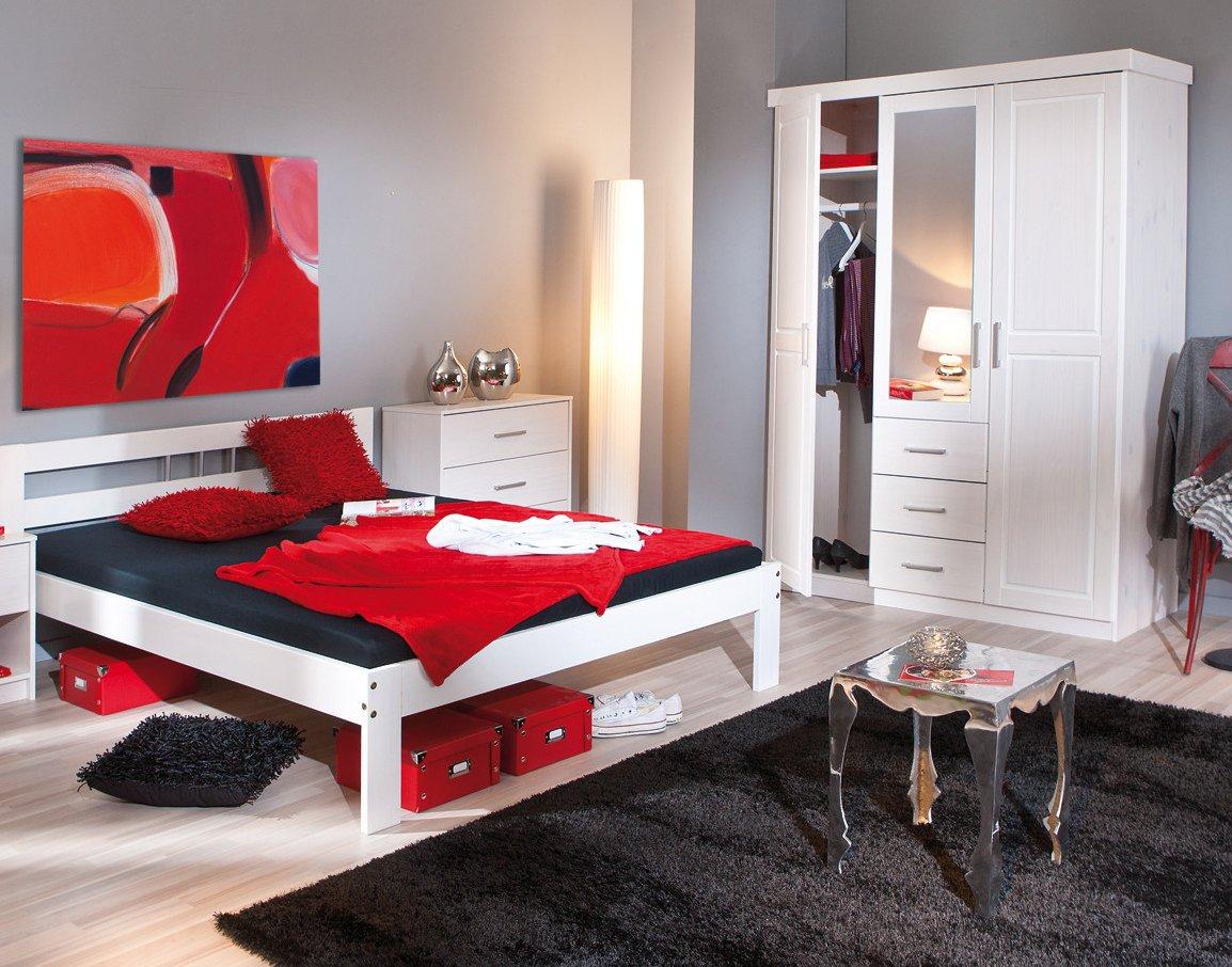 Schlafzimmer mit Bett 140 x 200 cm Kiefer weiss lackiert