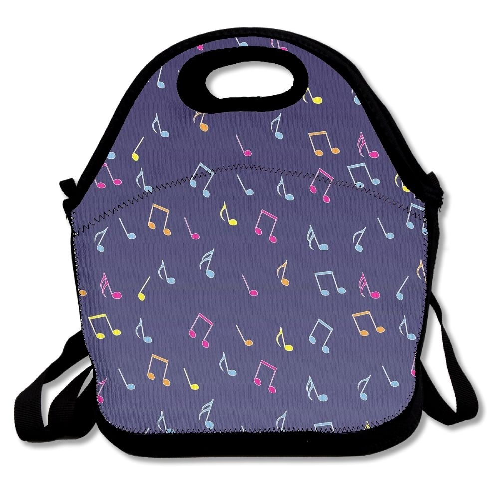 WSXEDC Music Notes Printing Lunch Bags/Waterproof Lunch Box Tote Handbag,Durable Reusable Adjustable Shoulder Strap Picnic Bag,Easy Carry To School/Office/Picnic For Children Women Men