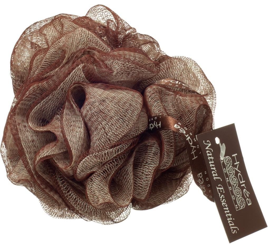 Large Bath Puff Chocolate and Cream Scrunchie with Wrist Wrap Hydrea