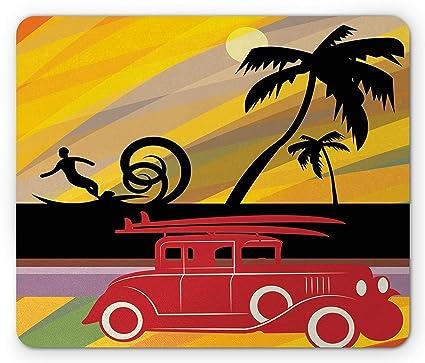 Alfombrilla de ratón colorida, silueta clásica para coche de Twenties con tablas de surf,