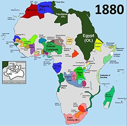 Amazon.com: Home Comforts Framed Art Your Wall Map Africa 1880