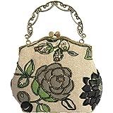 Covelin Women's Small Tote Handbag Flower Beaded Clutch Evening Bag Hot