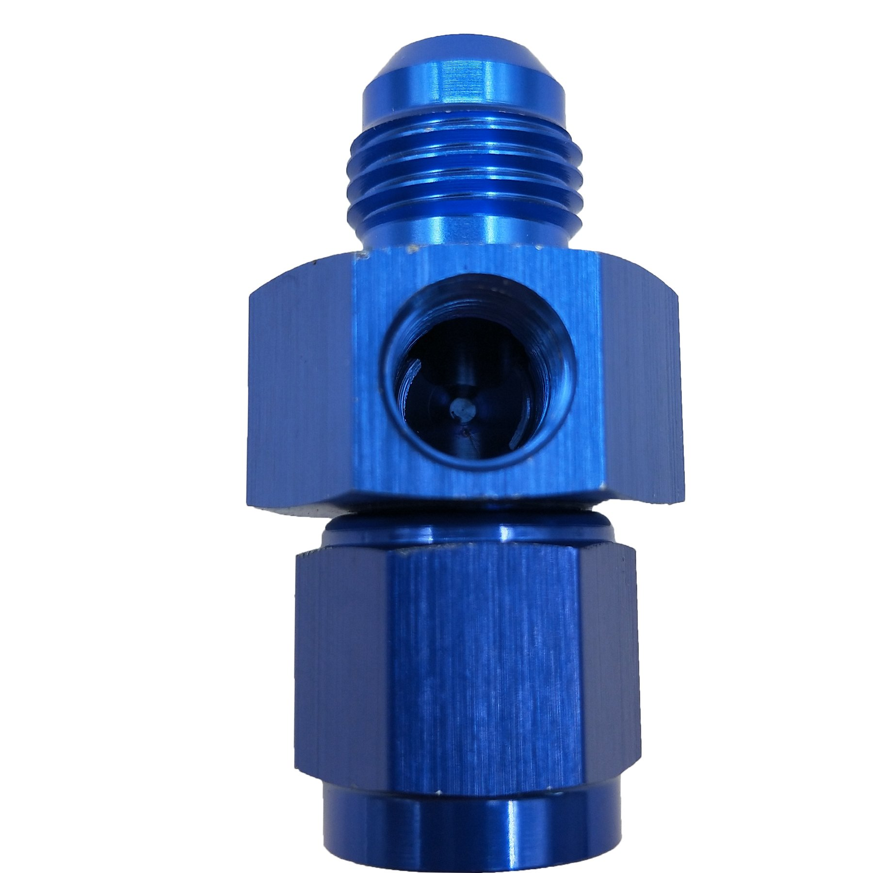 Dracary Nirtrous Adapter With Two 1/8'' NPT Ports For Gauge Purge M-6 AN Male To -6 AN Female Blue (6AN)
