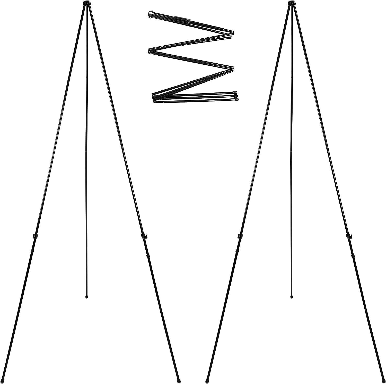 折りたたみ式インスタントディスプレイイーゼル 高さ66インチ フロアポスターイーゼル ブラックスチールメタル伸縮イーゼル 組み立て簡単 2パック