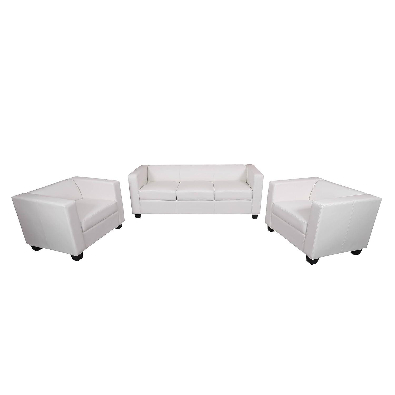 3-1-1 Sofagarnitur Couchgarnitur Loungesofa Lille Kunstleder ~ weiß