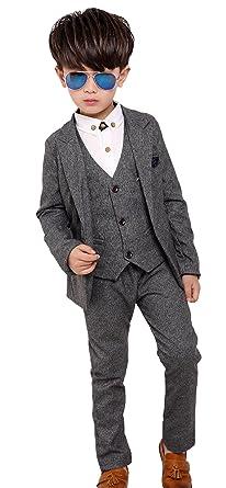 276c423d4164f Fengchengjize Boys Slim Fit Suits Set 3-PCS Prom Tux Suit Jacket Vest Pants  3T-10