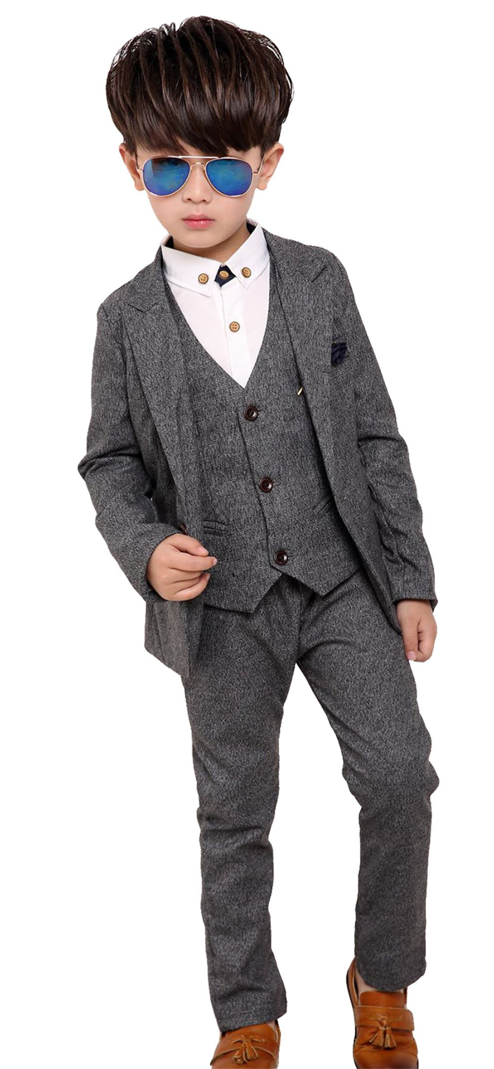 Fengchengjize Boys Tuxedo Set Slim Fit 3 Pieces For Toddler Kids Formal Jacket Pants Vest Boys Suits Set Grey 4