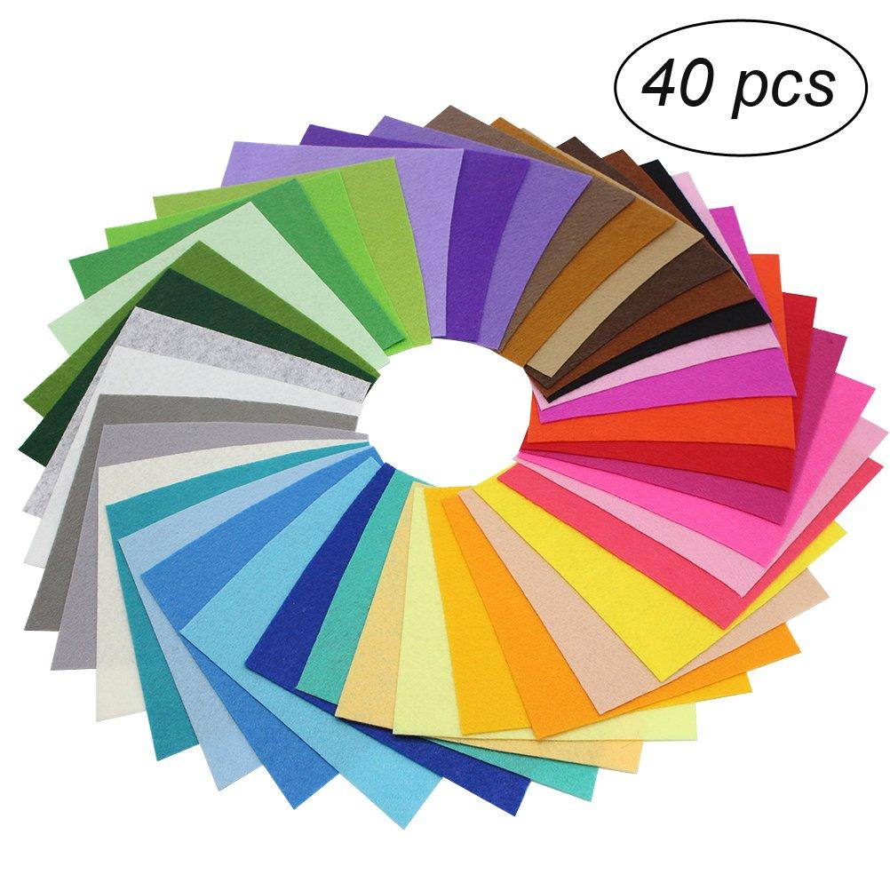 Fogli feltro colorato OUNONA SET Feltro pannolenci in fogli di 15x15 cm per mestieri fai da te 40PCS