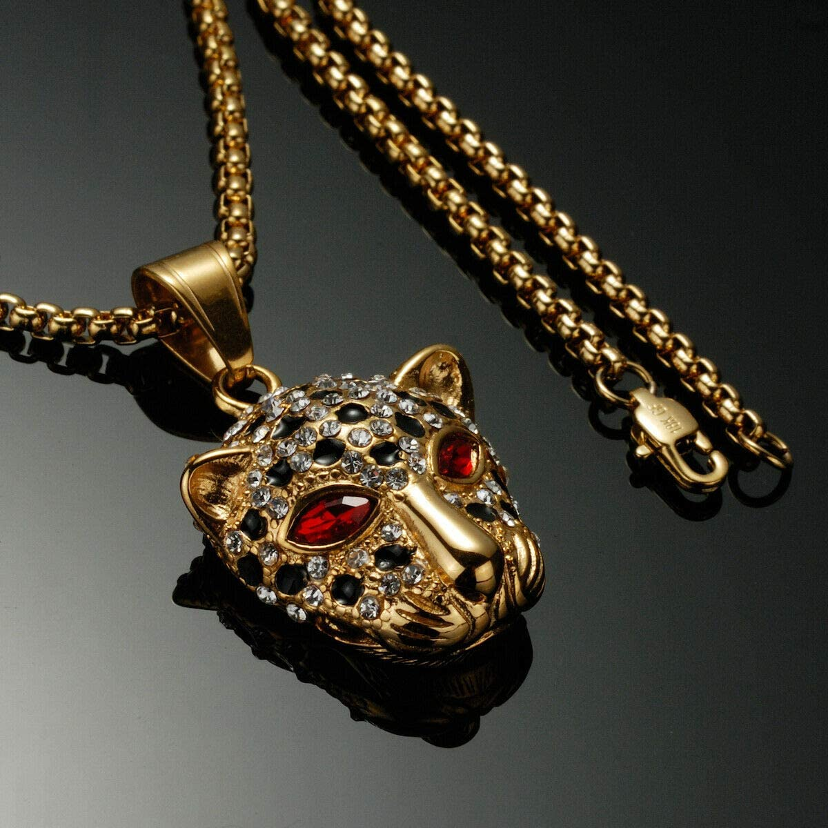 MASARWA Mens 18K Yellow Gold Stainless Steel Leopard Head Pendant Necklace Chain 60cmx2mm,with Velvet Pouch