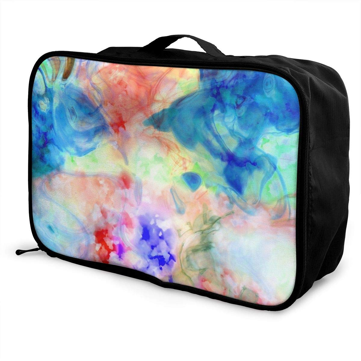 Art Abstract Colorful Travel Lightweight Waterproof Foldable Storage Carry Luggage Large Capacity Portable Luggage Bag Duffel Bag