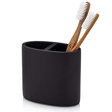 EssentraHome Matte Black Toothbrush Holder for Vanity Countertops
