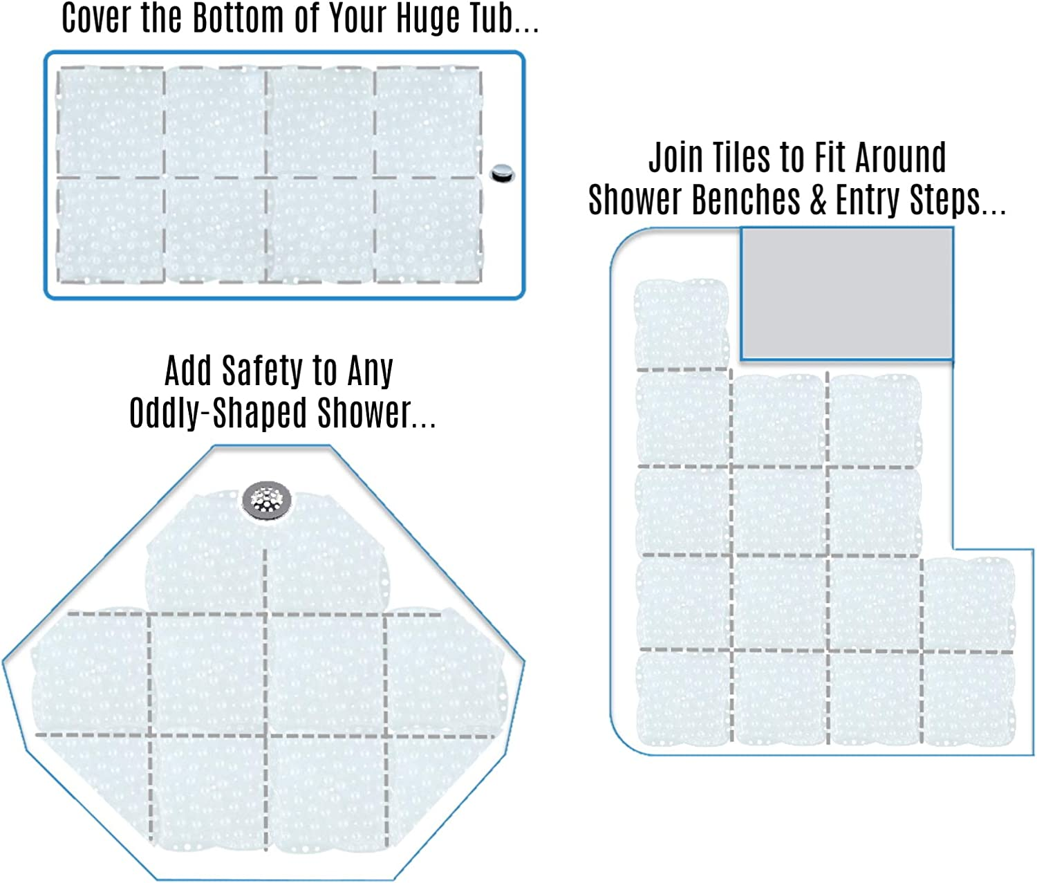SlipX Solutions Versatile Expandable Bath & Shower Safety Mat System Fits Any Size Tub or Shower! (Custom Size, Clear): Health & Personal Care
