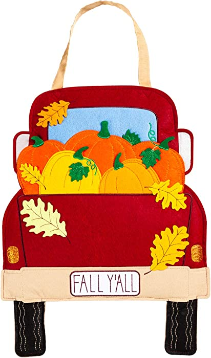 Evergreen Flag Classic Colorful Fall Y'all Pickup Truck Felt Door Decor - 14 x 18 Inches Fade and Weather Resistant Outdoor Front Door Decor for Homes, Yards and Gardens