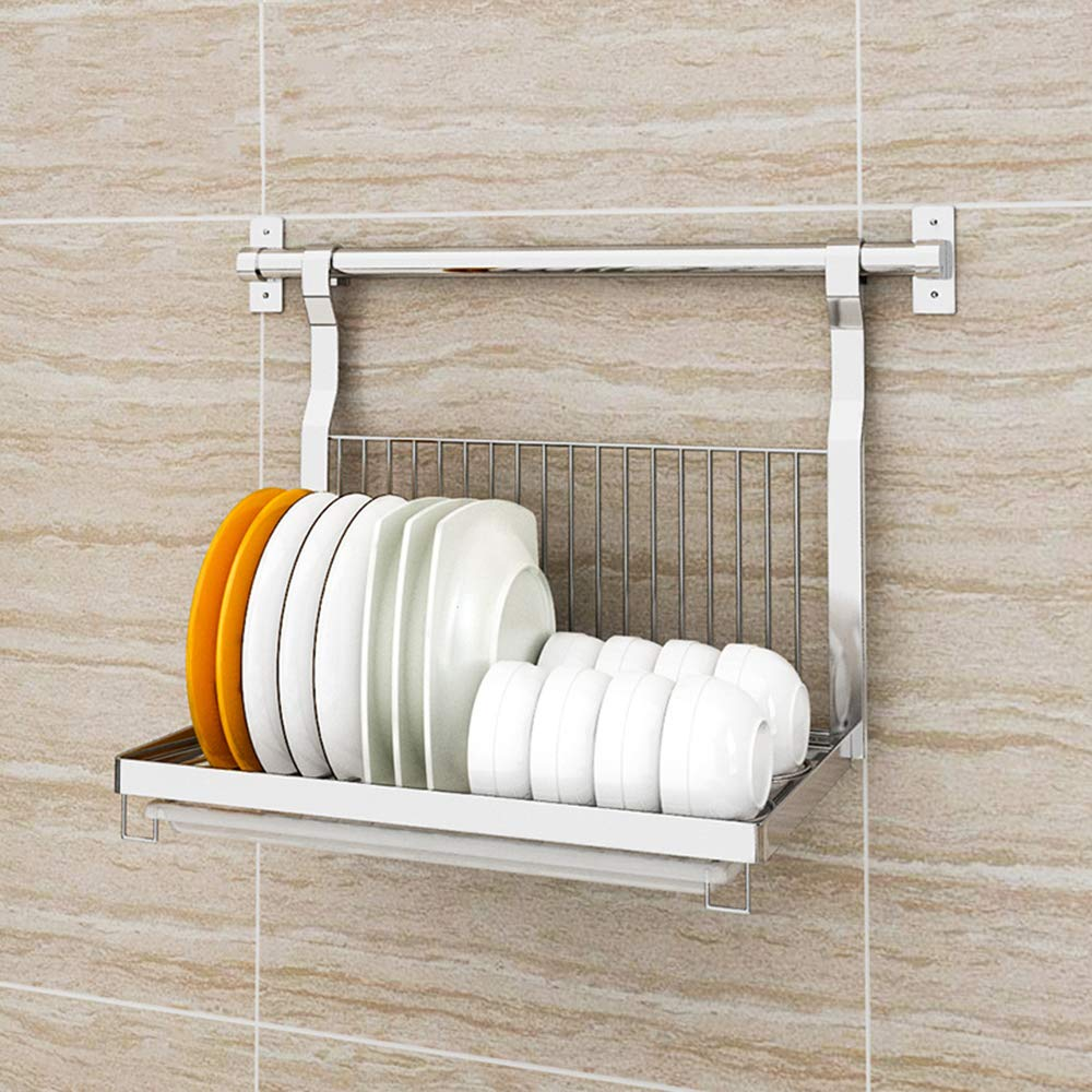 Dish drainer rack Plato escurreplatos Cocina de Pared montado en Acero Inoxidable Plegable cuberter/ía Secadora