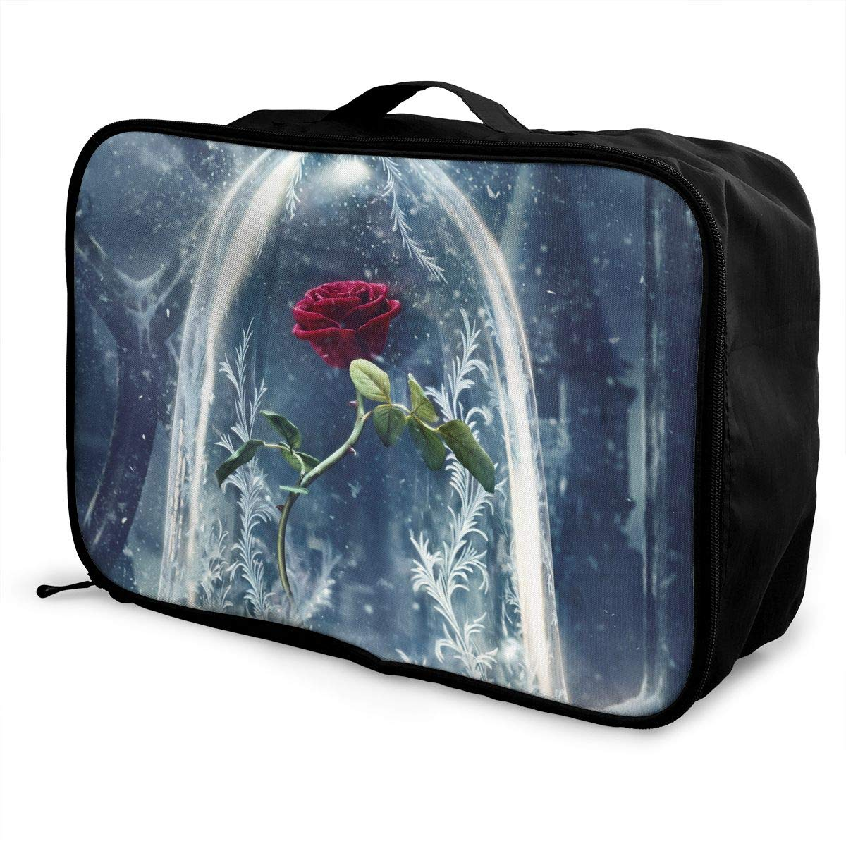 Travel Luggage Duffle Bag Lightweight Portable Handbag Red Rose Pattern Large Capacity Waterproof Foldable Storage Tote