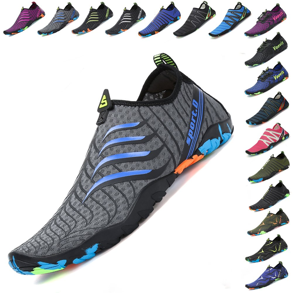 Voovix Womens Mens Water Shoes Quick-Dry Barefoot Aqua Socks Unisex for Beach Swim(gr42