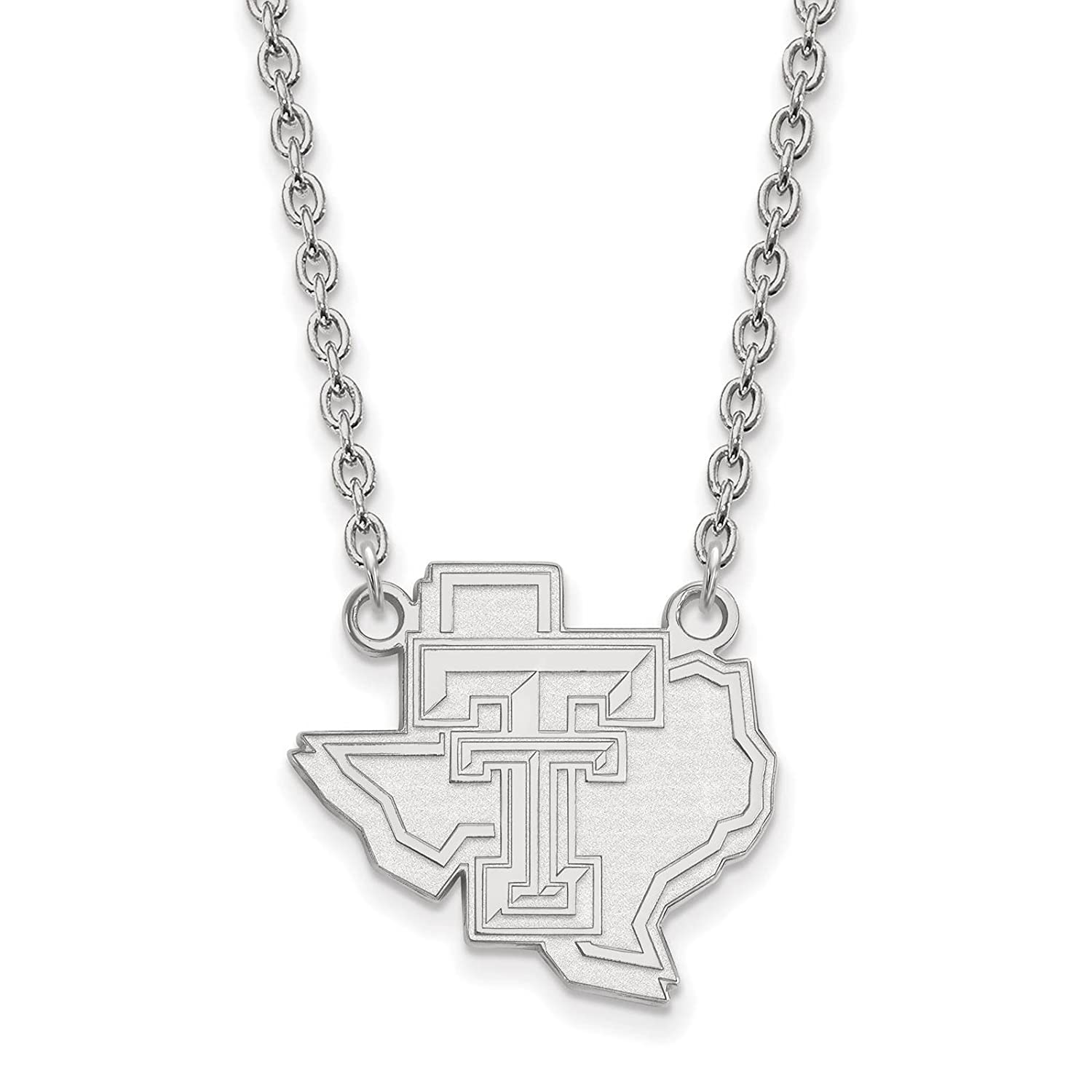 925 Sterling Silver Rhodium-plated Laser-cut Texas Tech University Large Pendant w//Necklace 18