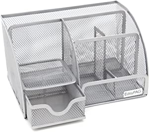 EasyPAG Office Supplies Mesh Desk Accessories Organizer 6 Compartments with Drawer,Silver