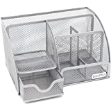 EasyPAG Office Mesh Supplies Desk Accessories Organizer 6 Compartments with Drawer ,Silver