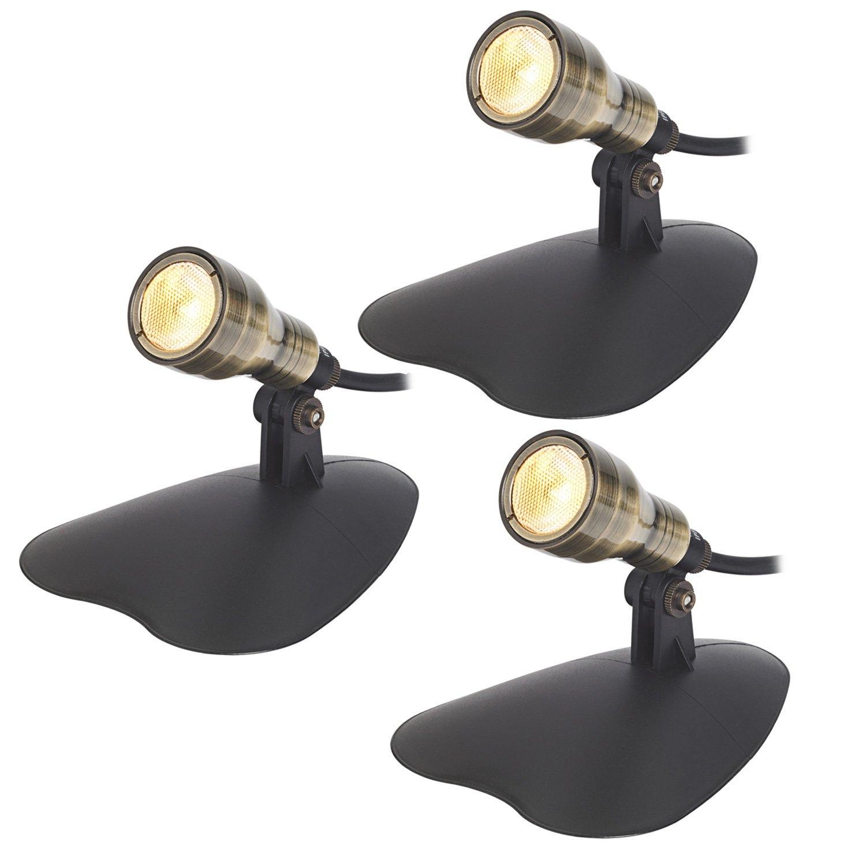 3er Set Bronze LED Teichbeleuchtung warmwei/ß D/ämmerungssensor Lights4fun