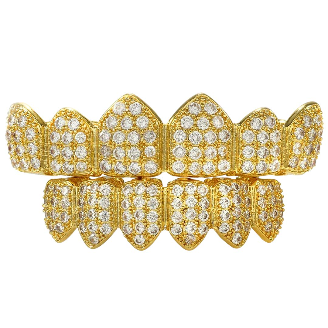 NIV'S BLING - 18K Yellow Gold-Plated Cubic Zirconia Stainless Steel Grillz Set