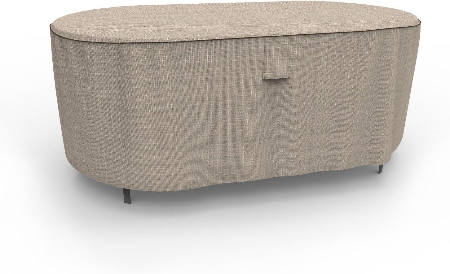 Budge P5A20PM1 English Garden Oval Patio Table Cover, Medium, Two-Tone Tan