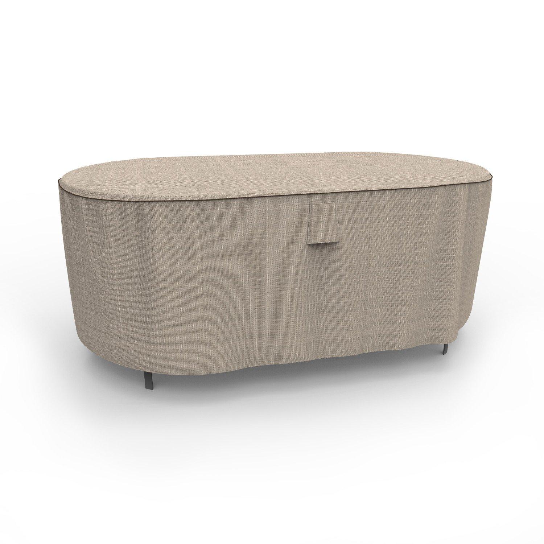 Budge English Garden Oval Patio Table Cover, Medium (Tan Tweed)
