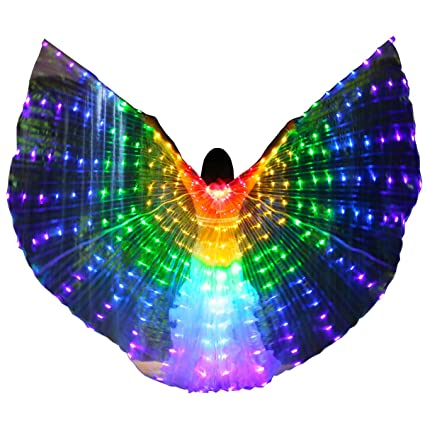 dfd466c81 Cegda Isis Wings LED Iridescent Belly Dance Egypt Women Adult with 2  Telescopic Sticks (Rainbow
