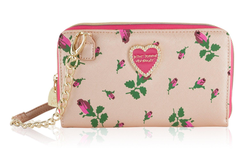 Betsey Johnson Metallic Floral Crossbody Wallet On A String Purse Bag - Rosebud
