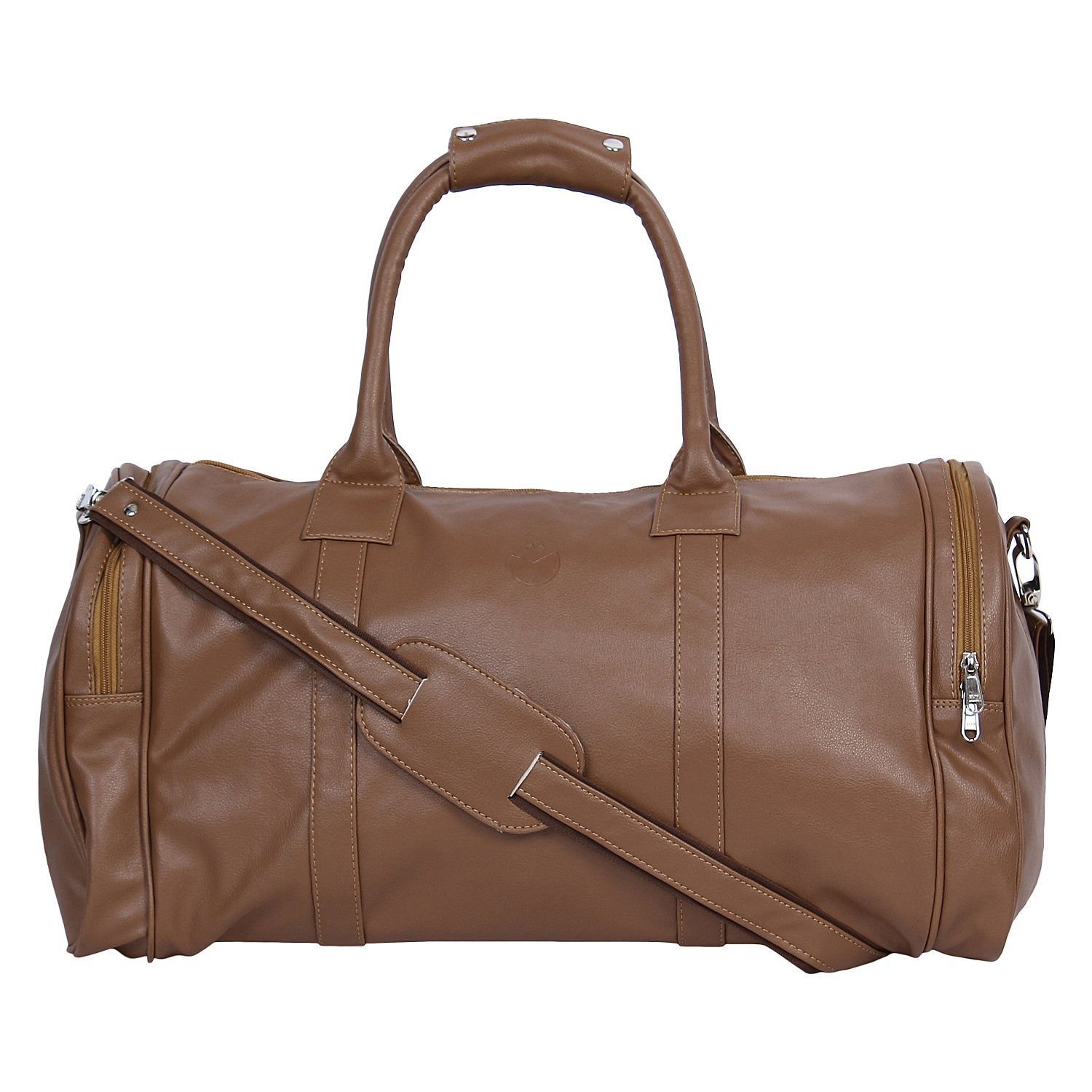 Mboss Leather 57.99 cms Beige Travel Duffle (TB 011)