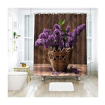 Aienid Badezimmer Deko Silber Lila Blume Im Korb Mehrfarbig Bad