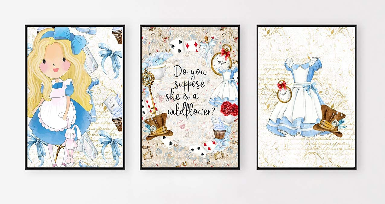 Silly Goose Gifts Do You Suppose She is A Wildflower? Wonderland Themed Wall Print Art (Set of Three)