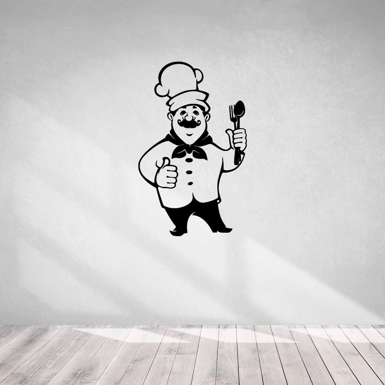 Cook Theme Sticker-Chef Cooking Restaurant Menu-Wall Decal Food Hat Cutlery Kitchen-Kitchen Pizza Bar Restaurant Wall Stickers Decor-Removable-0-060BGN44-11x17.5 in