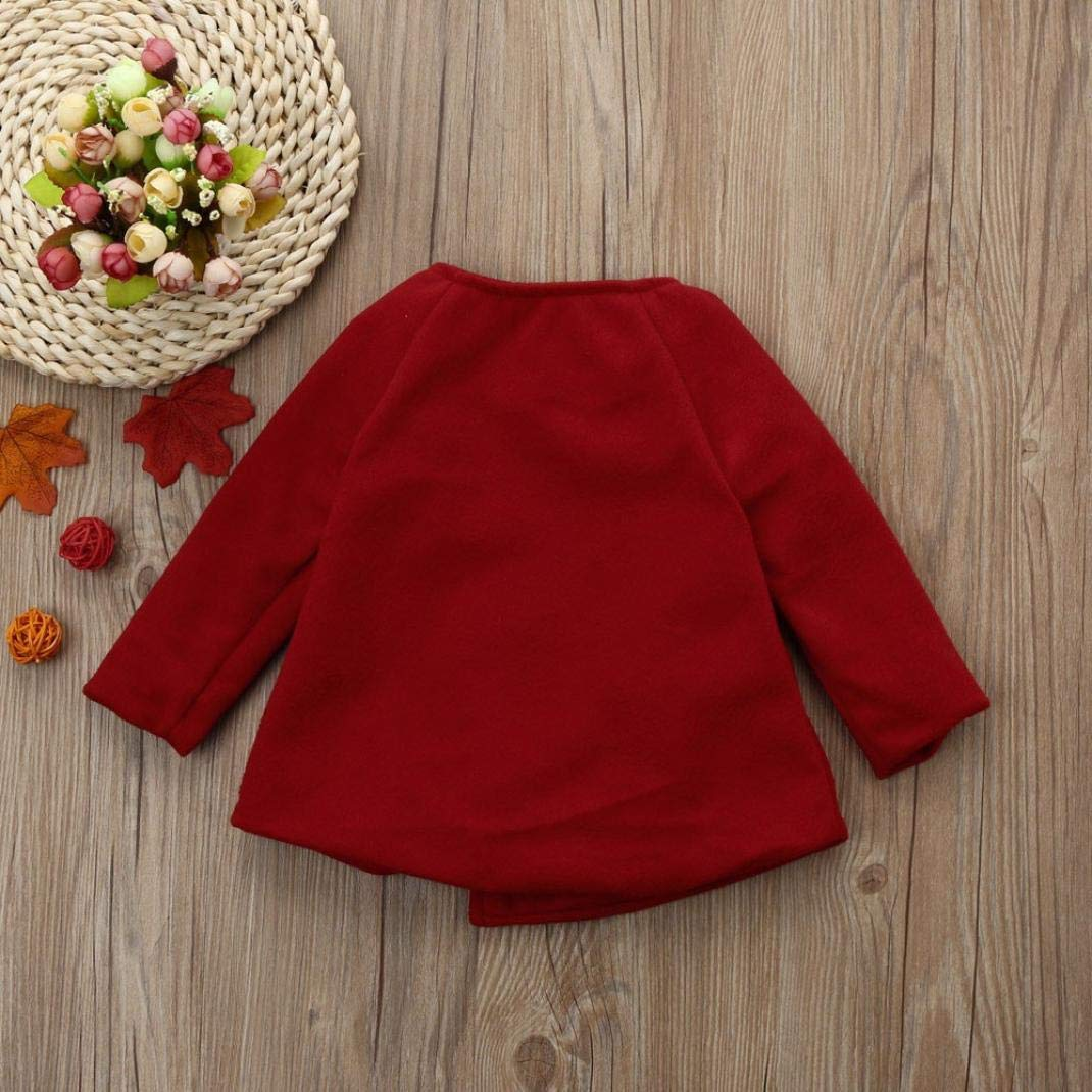 WARMSHOP Infant Baby Girls Solid Outwear Cloak Long Sleeve Autumn Winter Warm Button Jacket Coat Clothes for 0-3 Years