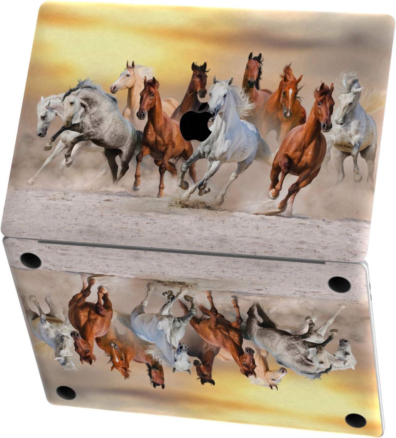 Mertak Vinyl Skin for Apple MacBook Air 13 inch Mac Pro 16 15 Retina 12 11 2020 2019 2018 2017 Running Horses Decal Wild Wrap Western Cover Print Nature Herd Clear Trackpad Touch Bar Top Animal