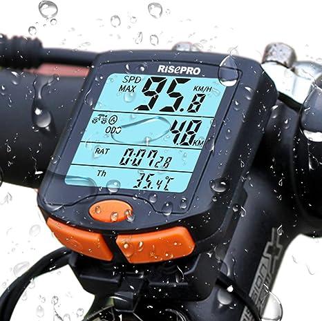 RISEPRO– ordenador de bicicleta inalámbrico, ordenador de bicicleta impermeable con retroiluminación LCD de 4 líneas para el seguimiento de velocidad y distancia: Amazon.es: Deportes y aire libre