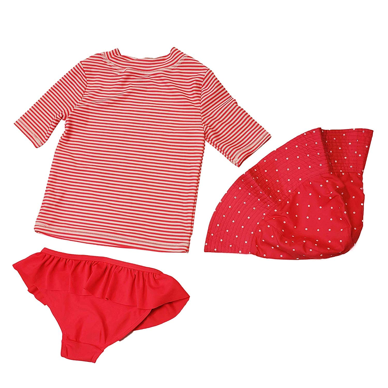 Hat Rash Guard Carters 3 Piece Little Girls Swimsuit Set