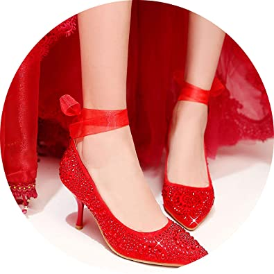 8ac8bf3e Women Pumps Sexy Thin Heels Party Silver Gold High Heel Shoes Wedding Shoes, Red,
